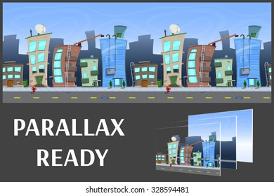 Illustration of a city landscape ,with buildings and road, vector unending background with separated layers for game.