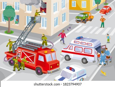 illustration of a city in one house on fire, firefighters rescue a child from the window, an ambulance picks up the wounded, a lot of onlookers, vector, eps