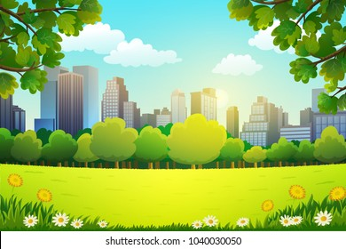 Illustration of city park in spring vector background