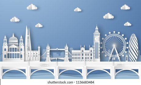 Illustration of city scene with famous architectures in London, England. Elements of London city, England. London city scene of England. paper cut and craft style. vector, illustration.