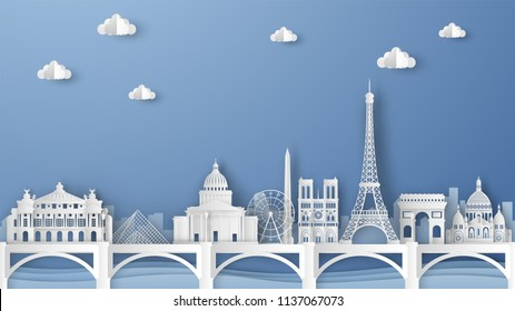 Illustration of city scene with famous architectures in Paris, France. Elements of Paris city, France. Paris city scene of France. paper cut and craft style. vector, illustration.