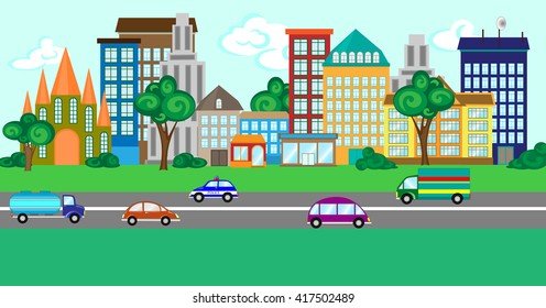 Illustration of a city street with a set of buildings and vehicles.