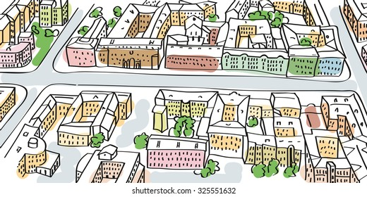 Illustration of city streets perspective. Buildings and crossroads, top view.