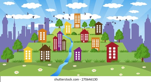 Illustration of cityscape with colorfull tower on hill