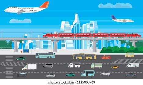 Illustration of a cityscape with different modes of transport. A large image of urban traffic with buses, planes, cars and trains. A bright illustration in the style of a flat design.