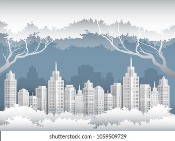 Illustration of cityscape in the jungle in conservation environment concept paper art style