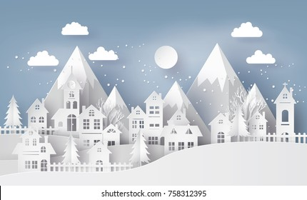 Illustration of cityscape with  Urban Countryside with full moon and snow, Merry christmas and winter season,paper art and  digital craft style.