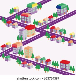 Illustration of a cityscape. A vector design.