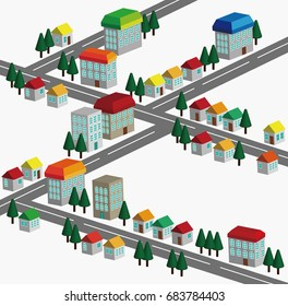 Illustration of a cityscape. It is a vector design.