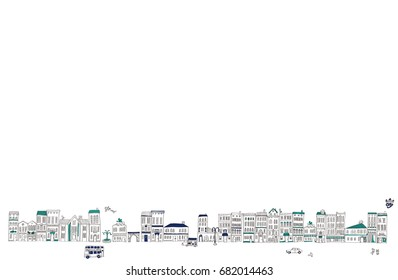 It is an illustration of the cityscape.It is a vector material.