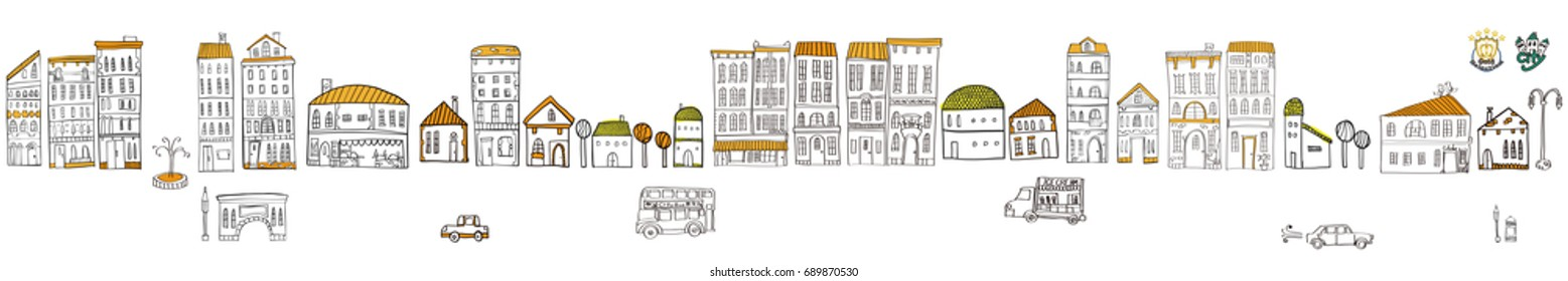 Illustration of the cityscape. It is a vector material.