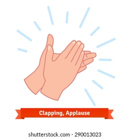 Illustration of clapping applauding hands. Flat vector icon.