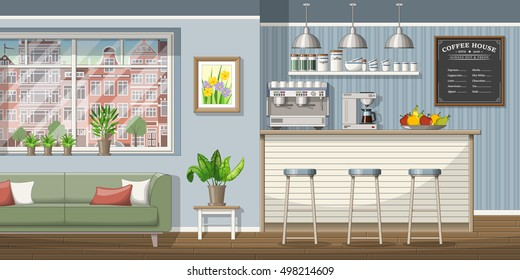 Illustration of a classic coffee shop