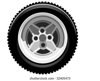 illustration of a classic rally car tire on a sport wheel.