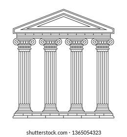 Illustration of classical antique Greek, Roman palace, building, colonnade, temple. Black linear silhouette.