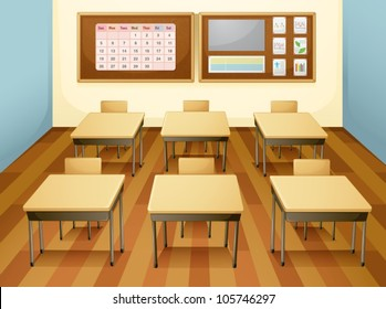 illustration of a classroom with table and chairs