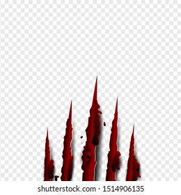 illustration of Claws scratches red blood vertical on isolate background. Creative paper craft,cut style.Scary laceration danger paper surface Claws scratching animal cat, tiger, lion, bear vector