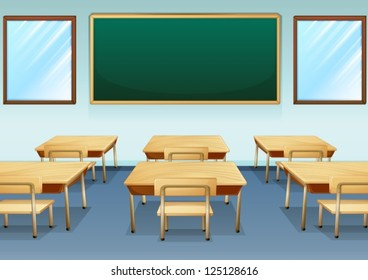 Illustration of a clean and empty classroom