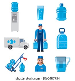 illustration of clean water delivery service icon set
