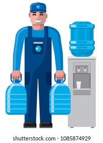 illustration of clean water delivery service man