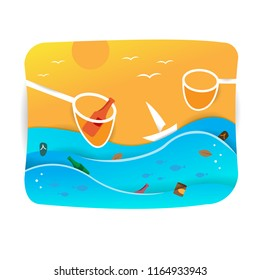 illustration of cleaning up garbage in the sea. poster template. vector.