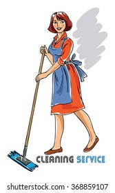 illustration with cleaning lady