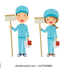 Illustration of the cleaning staff.