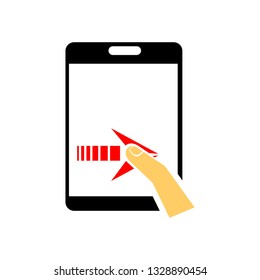 Illustration of click tablet touchscreen. finger touch smart phone