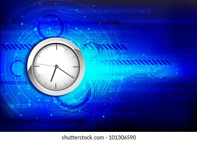illustration of clock on hi tech background with numbers