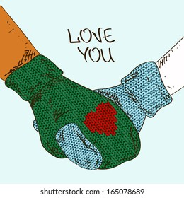 Illustration with close up holding hands couple in knitted mittens