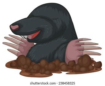 Illustration of a close up mole