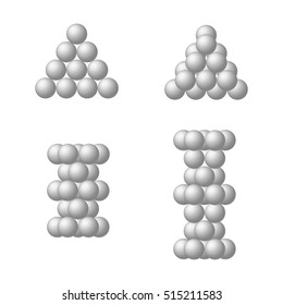 Illustration of close packing of balls of the same size