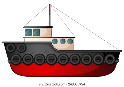 Illustration of a close up tugboat