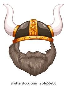 Illustration of a close up viking helmet