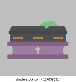 Illustration of a Closed Casket in a Funeral