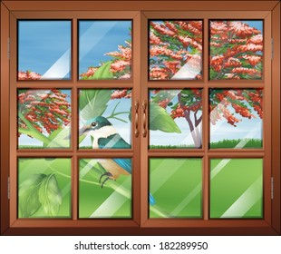 Illustration of a closed window with a view of the bird outside