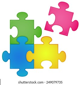 Illustration of closeup four pieces of jigsaw