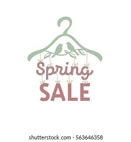 "Illustration of clothes hangers with attached thereto the letters ""spring sale""."