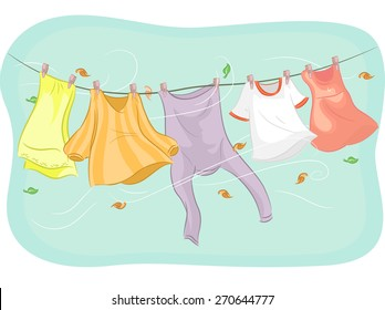 Illustration of Clothes Hanging from a Clothesline Being Swayed by the Wind