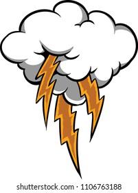 Illustration of a cloud lightning storm.