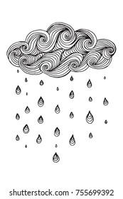 Illustration with cloud and rain drops. Black and white background. Black and white pattern in vector. Made by trace from sketch. Ink pen.  Zentangle patters. Doodle, henna