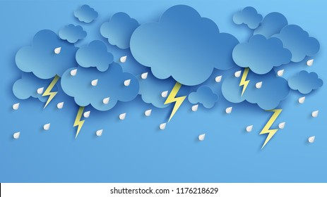 Illustration of Cloud and rain on blue background. heavy rain, rainy season, Overcast sky and lightning in the rainy season. paper cut and craft style. vector, illustration.