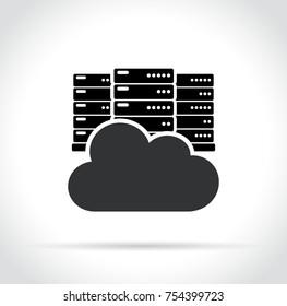 Illustration of cloud server icon on white background