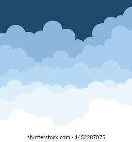 Illustration of a cloud in the sky. Print on paper. Vector