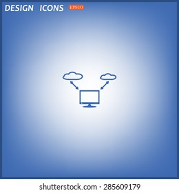 illustration of cloud storage. icon. vector design