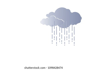 Illustration clouds and rain vector. Design gradient grey on white gradient. Design print for background, artwork, wallpaper, craft. Set 1