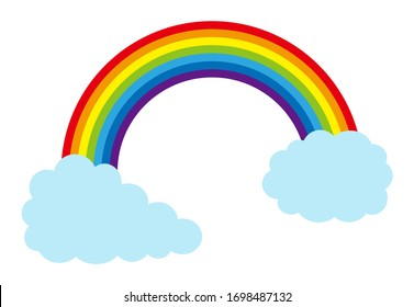 Illustration of clouds and rainbow.