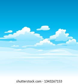 Illustration of clouds in sky. Card or background with heaven and sunny day.