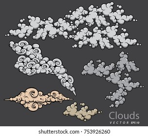 illustration clouds and smoke vector set on gray background