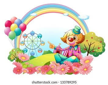 Illustration of a clown in the carnival with a garden on a white background